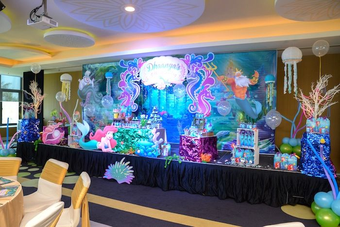 Party spread from an ariel the little mermaid birthday for Ariel birthday decoration ideas