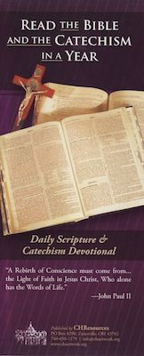Read the Bible and the Catechism in a Year (downloadable PDF - you must scroll down click on the link to get the PDF). You read 3 different parts of the Bible and one part of the Catechism and it takes about 20-30 minutes a day.