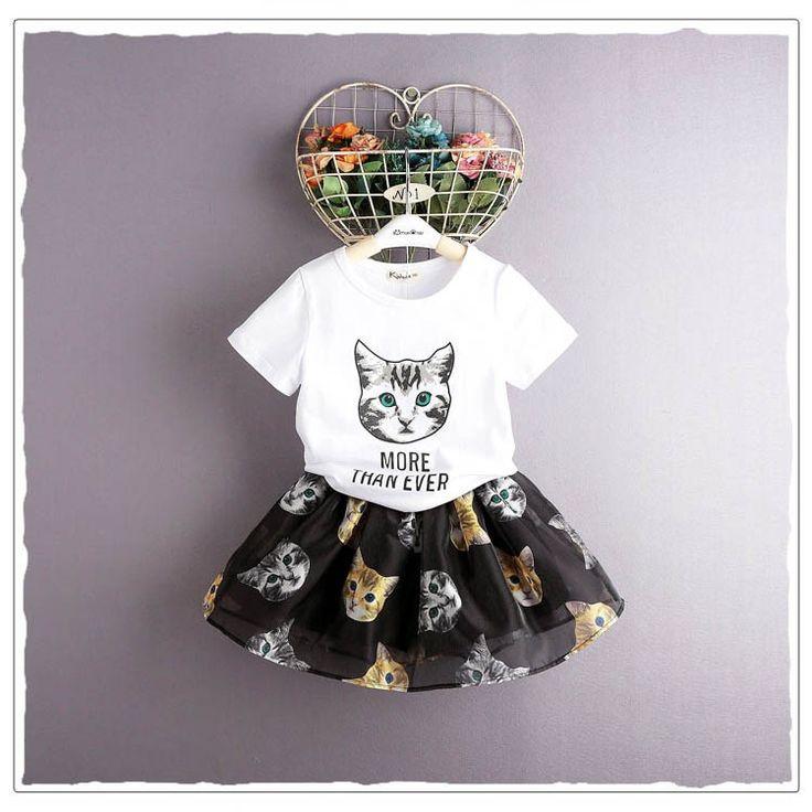 キッズ 女の子 可愛い猫ちゃん 半袖Tシャツ 猫モチーフ フレア スカート Elaine Girl - Yahoo!ショッピング - Tポイントが貯まる!使える!ネット通販