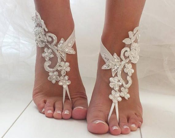 White Barefoot Sandals Lace Bridal Shoes Beach Wedding
