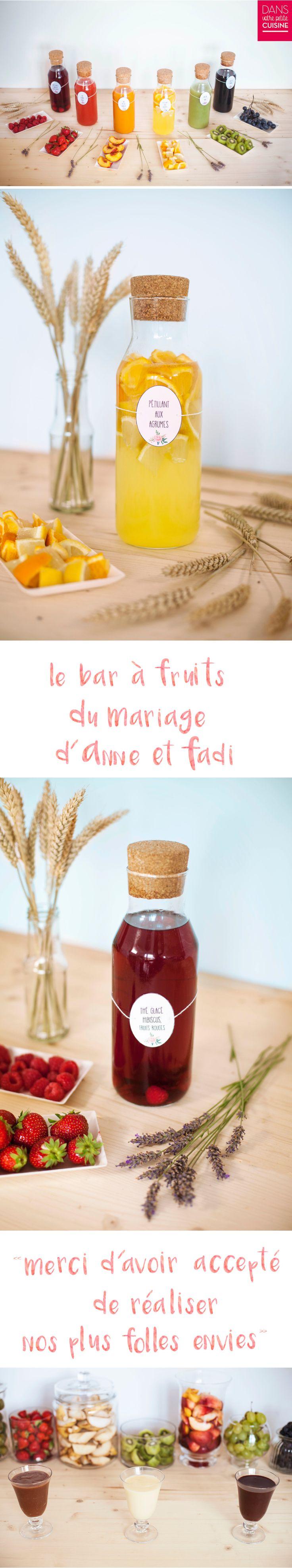 Buffet - Bar à fruits - mariage - pétillant aux agrumes - thé glacé hibiscus fruits rouge - fruits frais - sauce trois chocolats - chef à domicile - traiteur - original - coloré - Paris