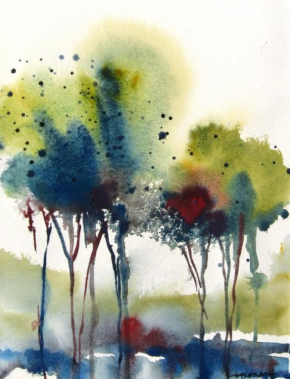 Little Grove Iii Original Watercolor Painting In 2020 Abstract