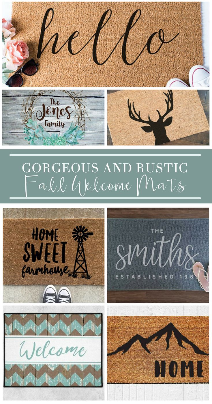 These welcome mats are cute, country and perfect for outdoor farmhouse ideas!  Great for DIY rustic décor that's affordable, budget friendly, and cheap.  Add a shabby chic, farmhouse style to your home, front door, and porch!
