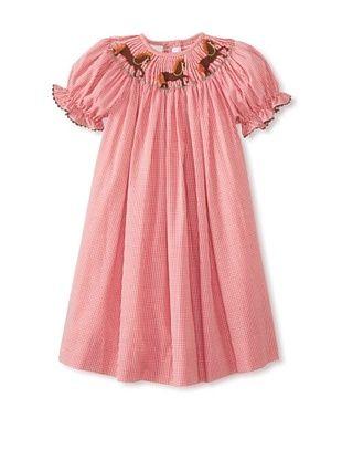 72% OFF Vive La Fete Kid's Smocked Horse Bishop Dress (Red)