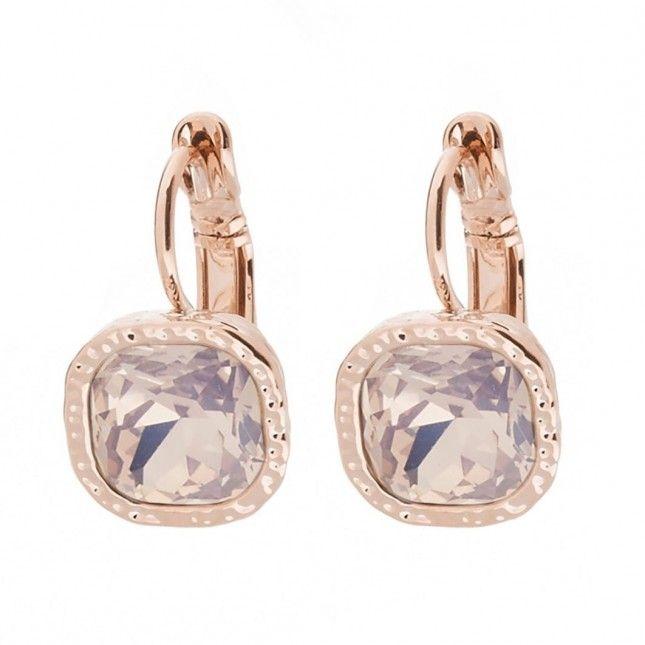 Ohrringe ROSEGOLD - hängend mit Schmuckstein in ROSA ❤ Quadratische Ohrhänger ✓ mit hochwertigem Brisurverschluss ✓ verschiedene Farben. Jetzt ansehen!  rose gold earrings pink