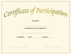 Blank Award Certificate Templates | Participation  Certificate Of Participation Template