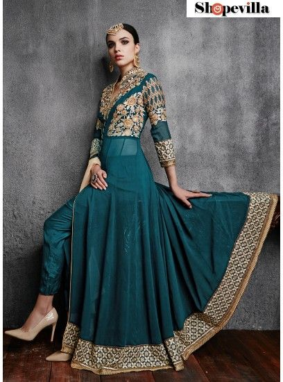 Ideal Sea Green Embroidered Georgette Pant Style Suit-11003-A