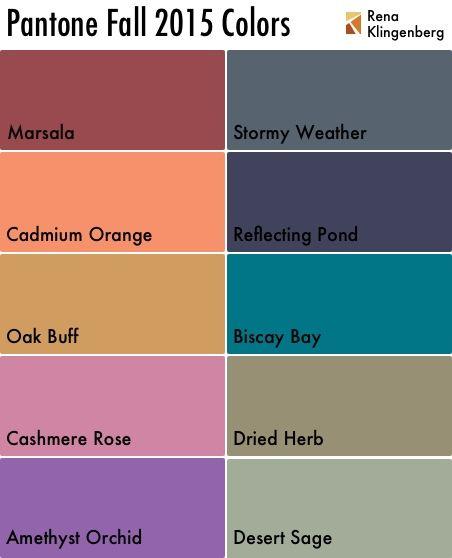 Pantone Fall 2015 Colors - Rena Klingenberg