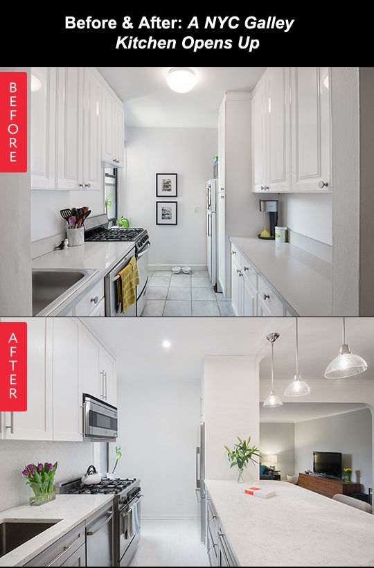 before after a nyc galley kitchen opens up - Remodel Galley Kitchen Before After