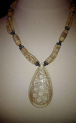 Bone bohemian costume jewelry necklace