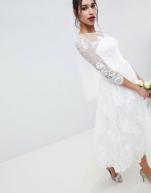 21e7936c8bcf ASOS Edition | ASOS EDITION Lace Long Sleeve Midi Prom Wedding Dress