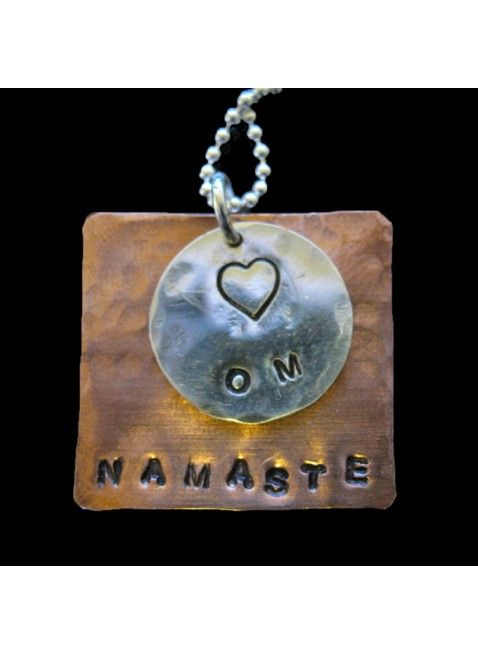 Om Jewelry - Om Namaste $49 | The Silver Maple  #gift ideas, personalized gifts, gifts for runners, running jewelry, running necklaces, handstamped jewelry, monogrammed necklace, personalized necklaces, customized necklaces