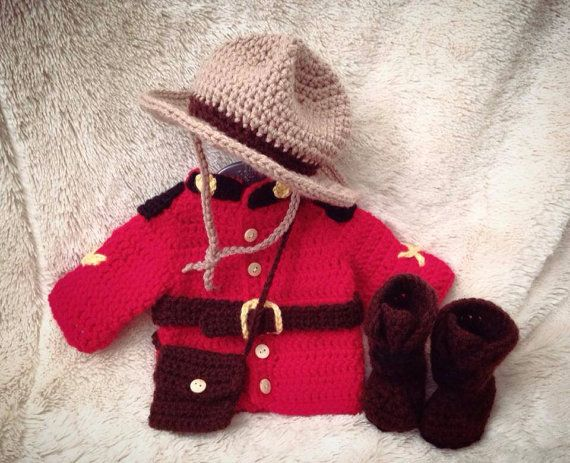 Newborn RCMP outfit photo prop  by PetitLoveCrochet on Etsy, $65.00