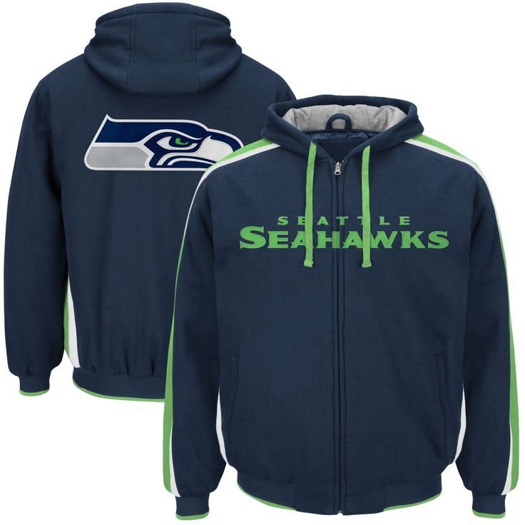 Men's G-III Sports by Carl Banks College Navy Seattle Seahawks Color Block Full-Zip Hooded Fleece Jacket