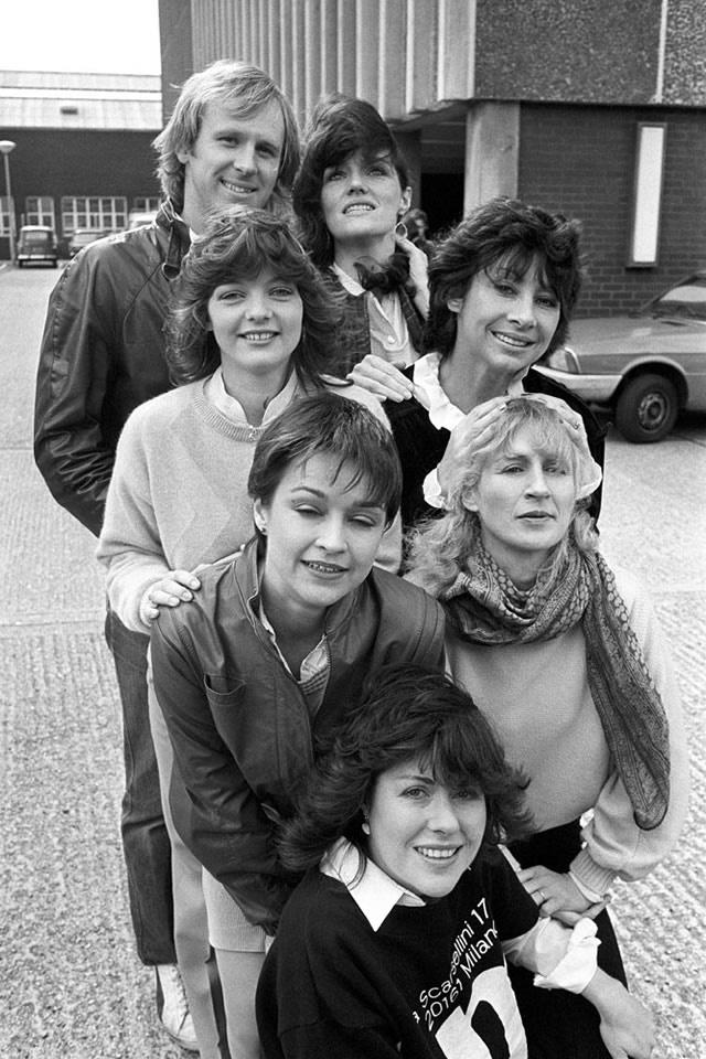 Peter Davison (5th Doctor), Louise Jameson (Leela), Sarah Sutton (Nyssa), Carole Ann Ford (Susan Foreman), Janet Fielding (Tegan Jovanka), Caroline John (Liz Shaw) and Lis Sladen (Sarah Jane Smith)