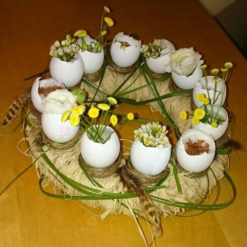 Påske, krans, egg, blomster,  fjær,  eggeskall,  easter,  feather, floker, diy