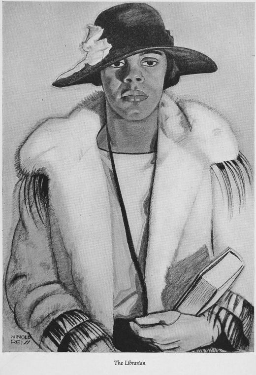 Four portraits of Negro women : The librarian. Artist: Winold Reiss. Mar 19, 1925.