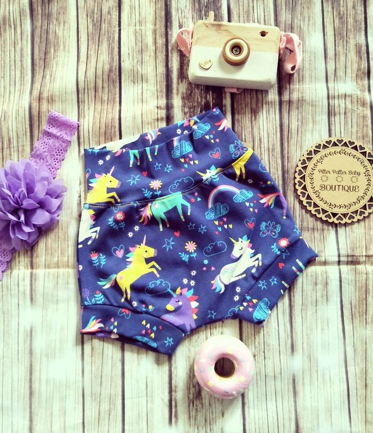 Unicorn Shorts, girl's Shorts, Blue Unicorn Shorties