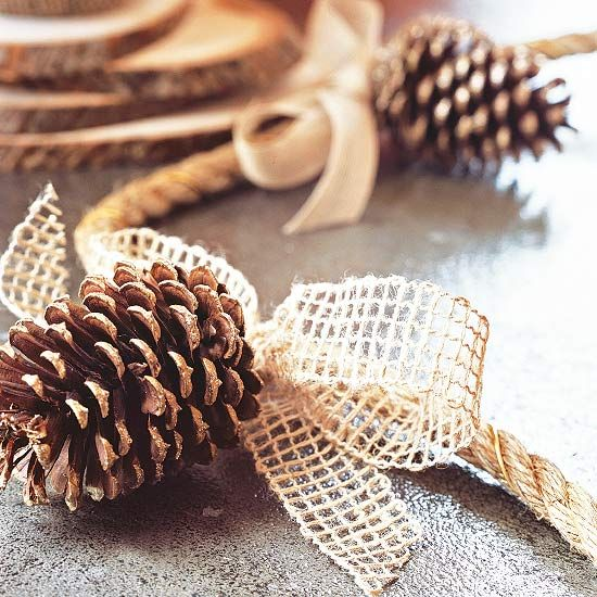 Pretty Natural Garland Brush pinecones with gold paint and glitter; let dry. Attach pinecones to hemp rope using heavy-gauge gold-tone wire. Tie bows of neutral ribbon over the wires. Drape the garland along your tabletop as a natural centerpiece.: