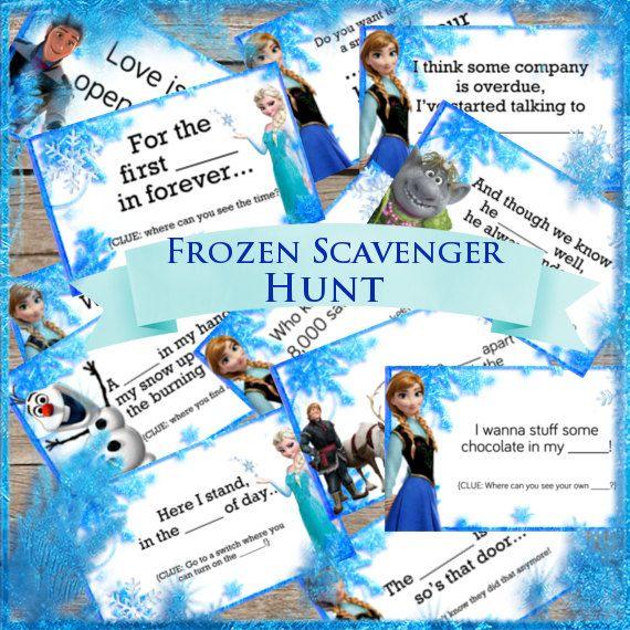Frozen Party Game! Scavenger Hunt! Digital Download! Printable Party Game! Treasure Hunt!