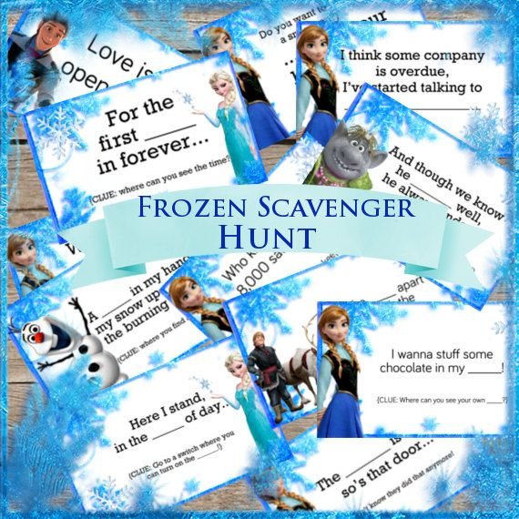 Frozen Party Game! Scavenger Hunt! Digital Download! Printable Party Game! Treasure Hunt! Disney's Frozen, Elsa, Anna, Sven, Reindeer, snow, do you want to build a snowman, love is an open door, let it go,