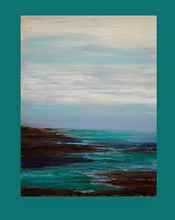 Art Painting Abstract Acrylic Original Ocean Seascape on Canvas Abstract Acrylic Painting by Ora Birenbaum Titled: Coastal 3 30x40x1.5""