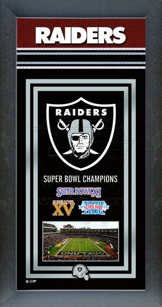 This framed Oakland Raiders poster celebrates each of their Super Bowl wins. Our Oakland Raiders Championship banner includes the team logo, photo of their home stadium and their Super Bowl Championship years.