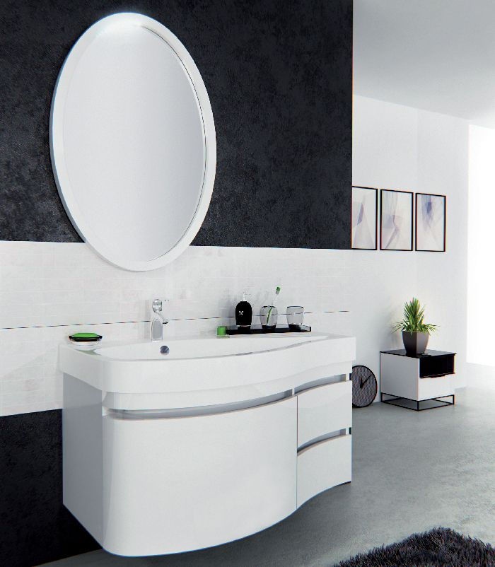 Комплект мебели Сопрано подвесная для ванной комнаты в стиле модерн, подойдёт тем кто предпочитает современный стиль в интерьере. Обтекаемые формы, лаконичные цвета.