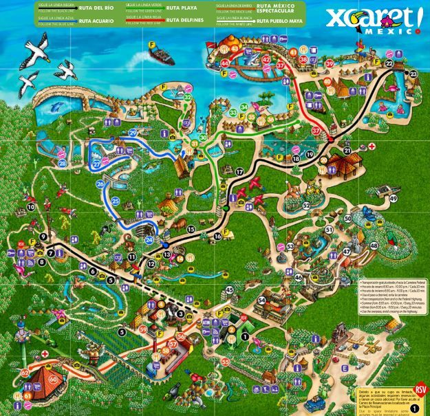 Map of Xcaret Park, Riviera Maya, Cancun.