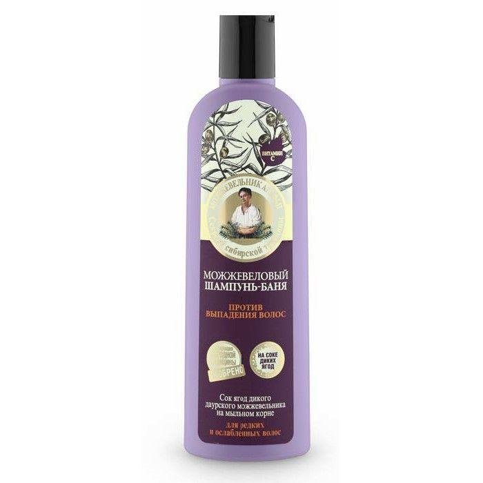 Jałowcowy szampon Bania przeciw wypadaniu włosów przeznaczony do pielęgnacji rzadkich i