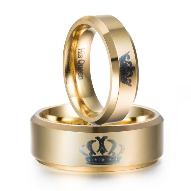 Promise rings for couples   King And Queen Crown Couple Promise Rings (Pair)