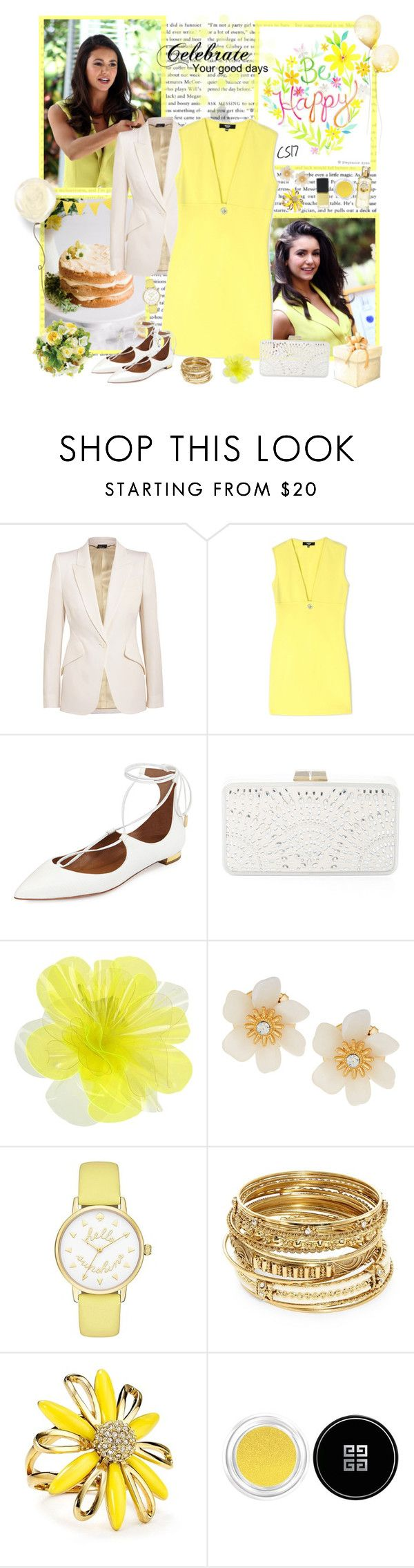 """""""June Celebrations Style with Nina Dobrev for June Birthdays."""" by shiningstars17 ❤ liked on Polyvore featuring Alexander McQueen, Versus, Aquazzura, Guide London, BCBGMAXAZRIA, DOUUOD, Lydell NYC, Kate Spade, ABS by Allen Schwartz and Givenchy"""