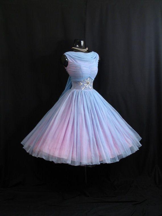 Vintage 1950's 50s Baby Blue Ruched Beaded Rhinestones Chiffon Organza Party Dress