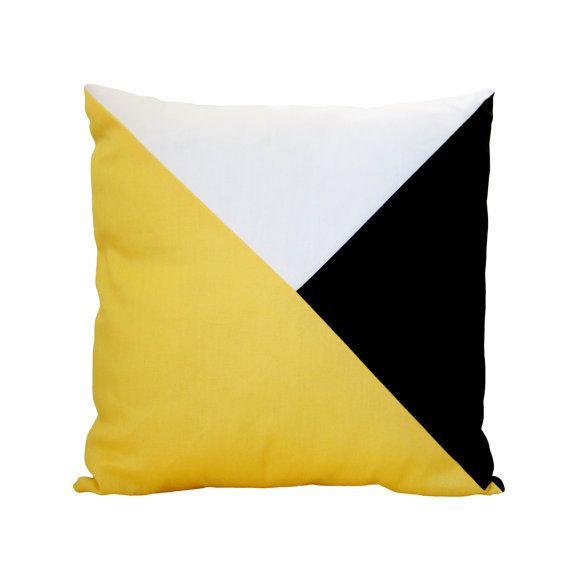 Coussin de scandinave de pendaison de crémaillère décoratifs Sofa de lancer oreiller couverture jaune Beach Summer Modern Colorblock Home dortoir appartement pépinière 16po