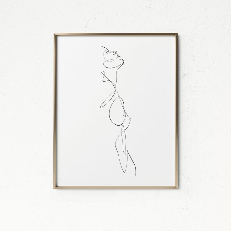 Minimal One Line Woman Figure Printable, Abstract Nude Female Print, Minimalist Feminine Artwork, Naked Body Profile, Line Drawing Wall Art – Hoa Le