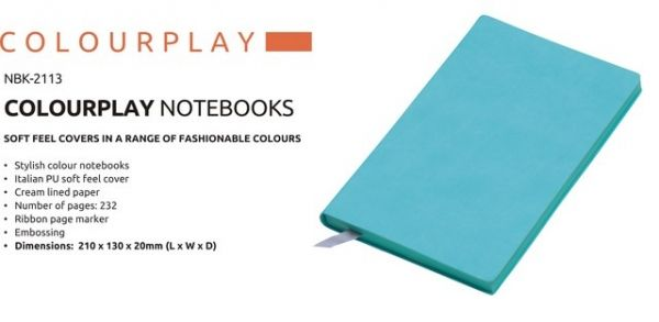 A5 Colour Play Notebook Colour Play Notebook Stylish Colour Notebook Italian PU Soft Feel Cover Cream Lined Paper Number of Pages : 232 Ribbon Page Marker Brand by Embossing  Dimensions : 210 × 130 × 20 (L x W x D) Teal Colour