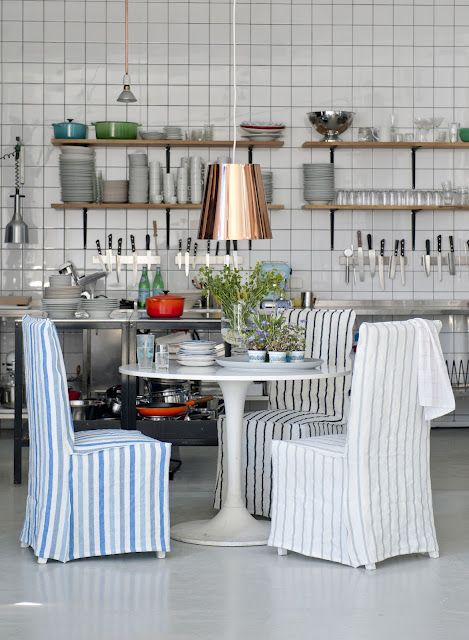 Love this kitchen (especially the light). Designers Guild + Bemz IKEA Slipcovers