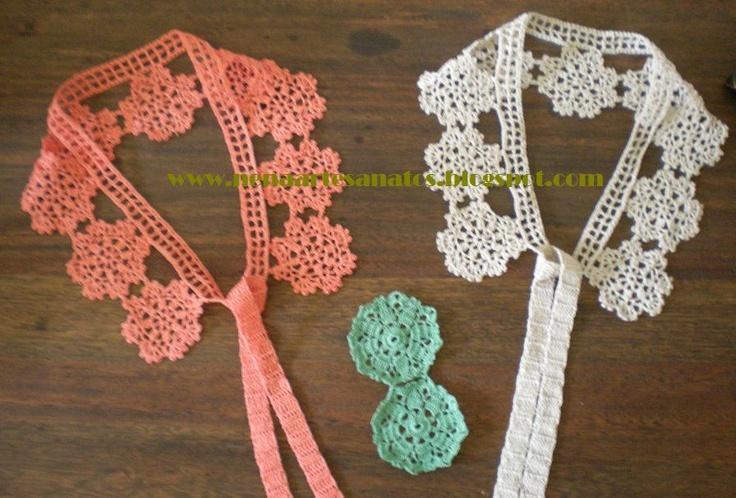 Gola em crochet: Gola Ems, Golas Renda