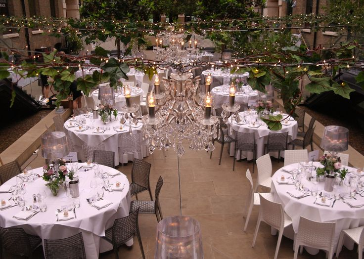 Crystal Chandeliers Ivy With Pealights And Birch Trees In Leaf At Devonshire Terrace By