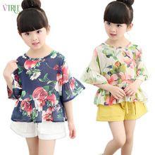 V-tree flores do verão camisas para meninas manga morcego com babados tutu meninas blusa princesa camisa da escola moda infantil camisas de vestido(China (Mainland))
