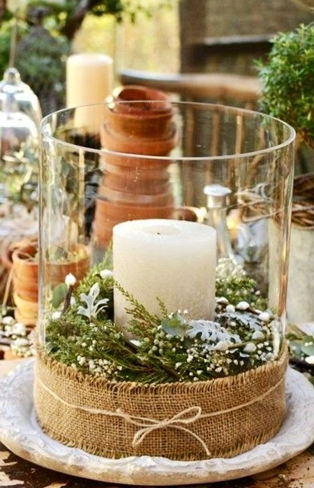 2015 Christmas table decorations with candle and candleholder