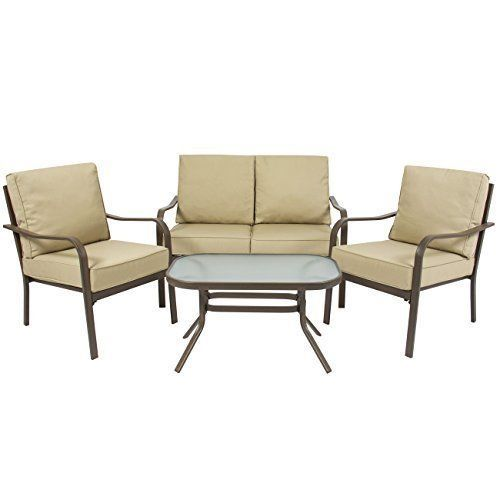 Patio Garden Furniture Set 4 Piece with Cushions Waterproof Steel Frame Outdoor #PatioGardenFurnitureSet4Piece