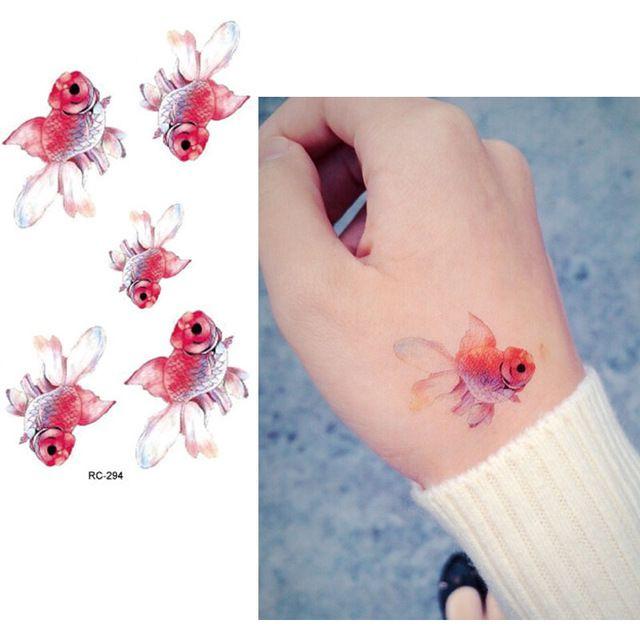 Временные татуировки водонепроницаемые татуировки наклейки боди-арт картины ну вечеринку украшения ручной нога рыбы красный