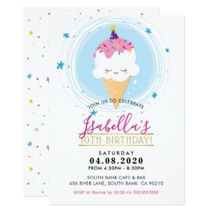 CUTE BIRTHDAY PARTY INVITE kawaii icecream cone - birthday cards invitations party diy personalize customize celebration