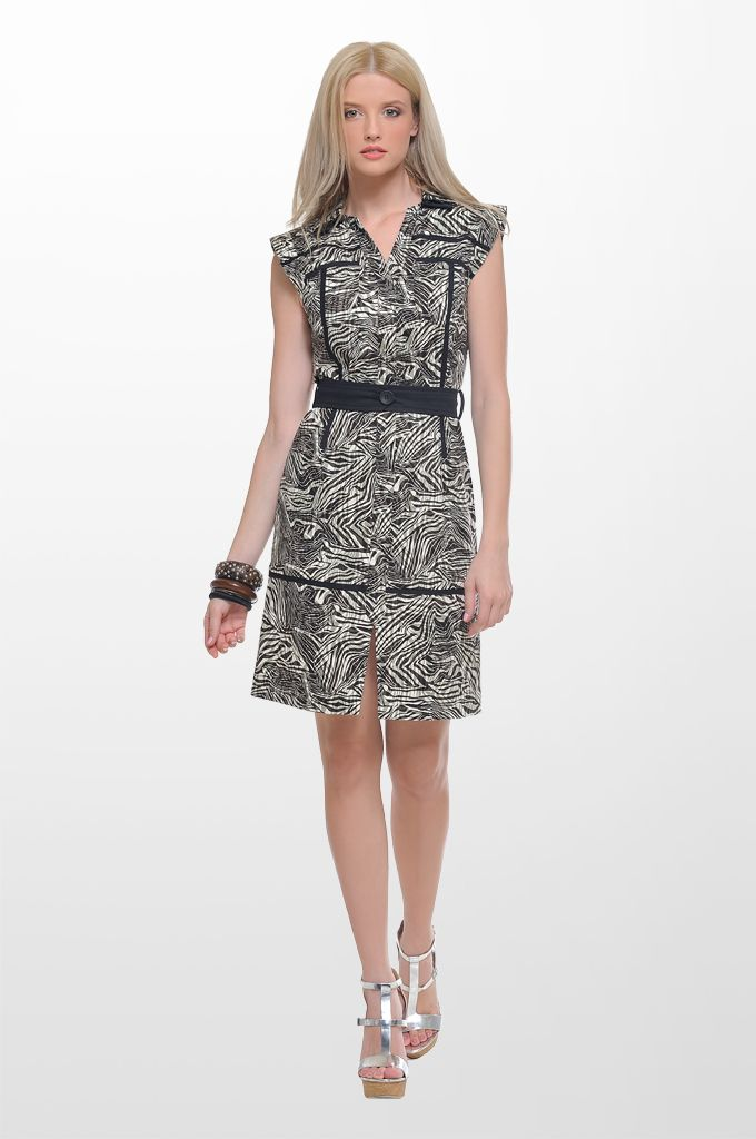 Sarah Lawrence - sleeveless printed dress with belt and black trimming.