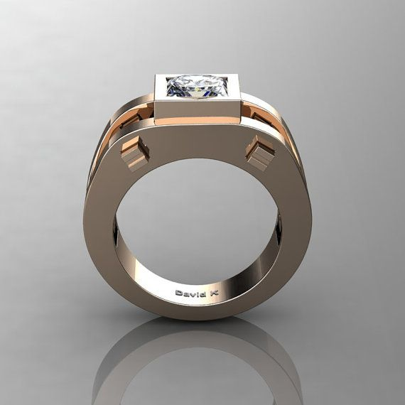Mens Modern 14K Rose Gold 2.0 Ct Princess White Sapphire Ring