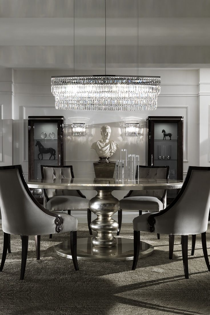 Of notable opulence, not only adding a touch of glamour to any setting but also creating a dramatic dining experience. Above all truly perfect for entertaining, and intimate evening suppers. The Large Round Italian Champagne Leaf Dining Table and Chairs Set at Juliettes Interiors is a gorgeous dining set that offers outstanding style and comfort.