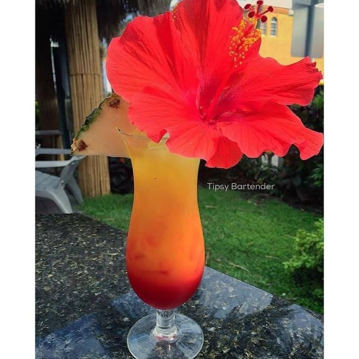 Tropical Sunrise Cocktail - For more delicious recipes and drinks, visit us here: www.tipsybartender.com