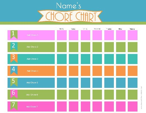 Free Printable Chore Charts That Can Be Customized Online