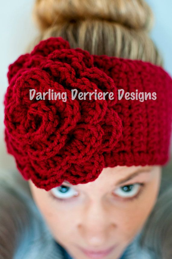 Rose Flower Headwrap Pattern perfect for beginner crochet. The pattern ranges from newborn, baby, child, teen, adult. Fun for the winter!